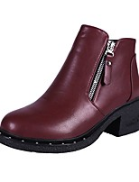 Women's Shoes PU Fall Riding Boots Boots Chunky Heel Round Toe Zipper For Casual Burgundy Black