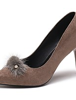 Women's Shoes PU Fall Winter Comfort Heels Stiletto Heel Round Toe Feather For Casual Khaki Red Black