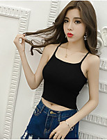 Women's Going out Casual/Daily Sexy Summer Tank Top,Solid Strap Sleeveless Cotton Medium