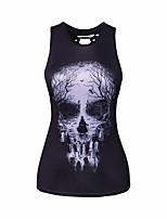 Women's Daily Vests Tank Top,Print Round Neck Sleeveless Others