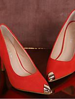 Для женщин Обувь Нубук Весна Осень Туфли лодочки Обувь на каблуках На шпильке Назначение Повседневные Черный Оранжевый Пурпурный Синий