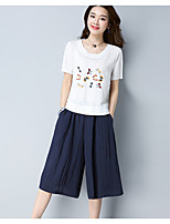 Women's Summer T-shirt Skirt Suits,Embroidery Round Neck Short Sleeve Inelastic