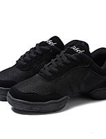 Women's Dance Sneakers Tulle Split Sole Outdoor Customized Heel Black Customizable