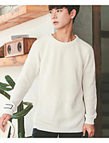 Men's Casual/Daily Regular Pullover,Solid Round Neck Long Sleeves Polyester Fall Winter Medium Micro-elastic