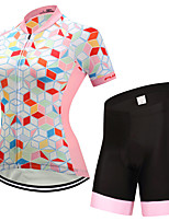 FUALRNY® Cycling Jersey with Shorts Women's Short Sleeves Bike Clothing Suits Reflective Strip Anti-Slip Quick Dry High Elasticity
