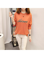 Women's Daily Work Cute Casual Sophisticated Winter Fall T-shirt,Solid Embroidery Letter Round Neck Long Sleeves Cotton Rayon Polyester