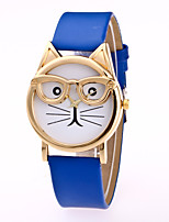 Women's Fashion Watch Quartz Leather Band Casual Cat Black White Brown Pink Purple Yellow Navy Rose