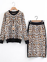 Women's Going out Casual/Daily Simple Cute Active Spring Fall T-shirt Skirt Suits,Leopard Round Neck Long Sleeve Micro-elastic