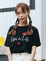 Women's Daily Casual T-shirt,Embroidery Round Neck Short Sleeves Cotton