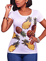 Women's Holiday Going out Casual Street chic Summer Fall T-shirt,Print Round Neck Short Sleeves Polyester Medium