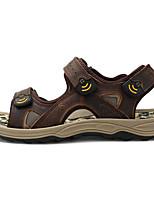 Для мужчин обувь Кожа Лето Удобная обувь Сандалии Назначение Повседневные Черный Кофейный Коричневый