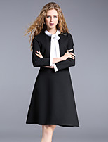 8CFAMILY Women's Holiday Going out Cute Street chic A Line Dress,Check Stand Above Knee Long Sleeves Cotton Spandex Fall Mid Rise Micro-elastic