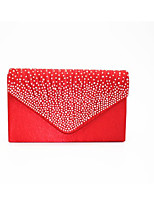 Women Bags All Seasons Silk Clutch Zipper for Casual Red Black White