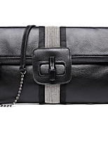 Women Bags All Seasons Cowhide Clutch Buttons for Casual Black
