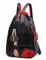 Women Bags All Seasons PU Backpack Zipper for Casual Outdoor Black