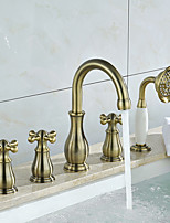 Tub And Shower Ceramic Valve Three Handles Five Holes for  Oil-rubbed Bronze , Bathtub Faucet
