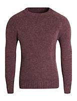 Для мужчин На каждый день Обычный Пуловер Однотонный,Круглый вырез Длинный рукав Полиэстер Зима Средняя Слабоэластичная