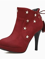 Women's Shoes Fleece Fall Winter Fashion Boots Combat Boots Boots Stiletto Heel Round Toe Booties/Ankle Boots Rivet Lace-up Tassel For
