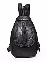 Women Bags All Seasons Sheepskin Backpack Buttons for Casual Black