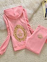 Mulheres Moletom Manga Longa Térmico/Quente Respirável Blusas Calças Conjuntos de Roupas para Correr Pilates Fibra Sintética Veludo