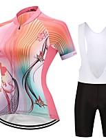 Camisa com Bermuda Bretelle Mulheres Manga Curta Moto Conjuntos de Roupas Design Anatômico Floral / Botânico Outono Verão Ciclismo/Moto