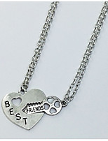 Men's Women's Pendant Necklaces Heart Alloy Love Friendship Jewelry For Gift Daily