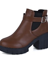 Women's Shoes PU Fall Fashion Boots Boots Chunky Heel Round Toe For Casual Coffee Black