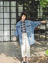 Women's Casual/Daily Simple Fall Denim Jacket,Solid Shirt Collar Long Sleeve Long Nylon