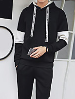 Men's Daily Hoodie Color Block Hooded Micro-elastic Cotton Polyester Long Sleeve Fall