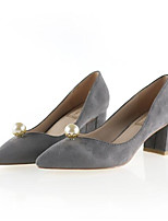 Women's Shoes Nubuck leather Spring Fall Basic Pump Heels Stiletto Heel For Casual Red Gray Black
