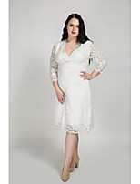 Cute Ann Women's Plus Size Casual/Daily Sexy Simple Cute Sheath Dress,Solid V Neck Knee-length 3/4 Length Sleeves Cotton Polyester All Seasons Fall