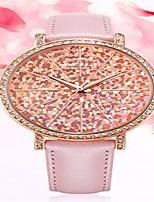 Women's Fashion Watch Quartz Leather Band White Gold Pink