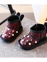 Girls' Shoes Leatherette Fall Winter Comfort Boots For Casual Red Silver Black