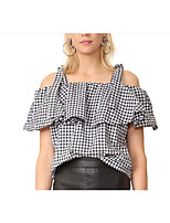 Women's Daily Going out Casual Summer T-shirt,Check Strap Short Sleeves Cotton Polyester Medium