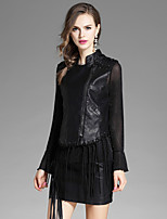 EWUS Women's Going out Casual/Daily Street chic Winter Blouse Skirt SuitsSolid Round Neck Sleeveless Inelastic