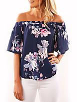 Women's Daily Holiday T-shirt,Floral Boat Neck Half Sleeves Polyester