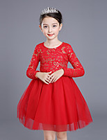 Girl's Solid Dress,Cotton Rayon Polyester Winter Fall Long Sleeve Vintage Party Elegant & Luxurious Red