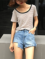 Women's Daily Sports Going out Casual Active Summer T-shirt,Striped Round Neck Short Sleeves Cotton Others Medium