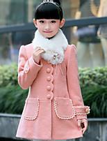 Girls' Patchwork Jacket & Coat Fall Long Sleeve Red Blushing Pink