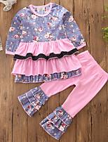 Ensembles Fille Fleur Mosaïque Coton Polyester Printemps Automne Manches longues Ensemble de Vêtements