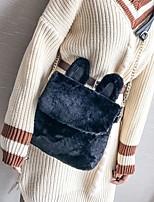 Women Bags Fur Shoulder Bag Zipper for Winter Black Gray