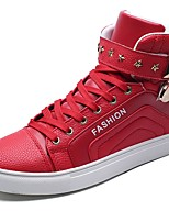 Men's Shoes Nappa Leather Fall Comfort Sneakers Rivet Lace-up For Outdoor Red Black White