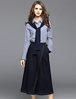 EWUS Women's Going out Casual/Daily Street chic Fall Shirt Pant SuitsStriped Shirt Collar Long Sleeve Denim Inelastic