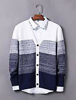 Men's Casual/Daily Simple Regular Cardigan,Color Block V Neck Long Sleeves Others Fall Medium Micro-elastic