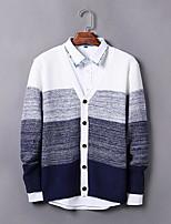 Standard Cardigan Da uomo-Casual Semplice Monocolore A V Manica lunga Altro Autunno Medio spessore Media elasticità