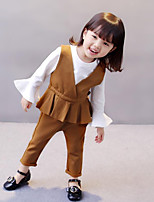 Girls' Solid Sets,Cotton Spandex Spring Fall Clothing Set