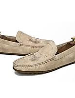 Hombre Zapatos Goma Otoño Mocasín Zapatos de taco bajo y Slip-On Para Negro Beige Marrón