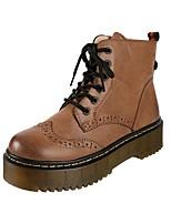 Для женщин Обувь Полиуретан Зима Армейские ботинки Ботинки На плоской подошве Круглый носок Шнуровка Назначение Повседневные Для