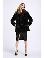 BF-Fur Style Women's Casual/Daily Sophisticated Winter Fur Coat,Color Block Shirt Collar Long Sleeve Regular Fox Fur