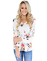 Women's Holiday Going out Casual Fall T-shirt,Floral V Neck Long Sleeves Polyester Spandex Medium